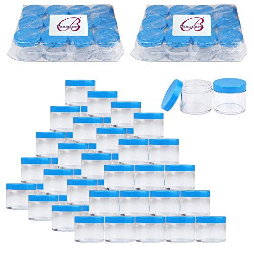 Beauticom 2 oz./ 60 Grams/60 ML (Quantity: 384 Packs) Thick Wall Round Clear Plastic LEAK-PROOF Jars Container with BLUE Lids for Cosmetic, Lip Balm, Lip Gloss, Creams, Lotions, Liquid by Beauticom®