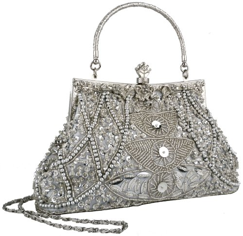 MG Collection Louise Seed Bead Sequined Leaf Clutch Purse Evening Bag, Silver, One Size
