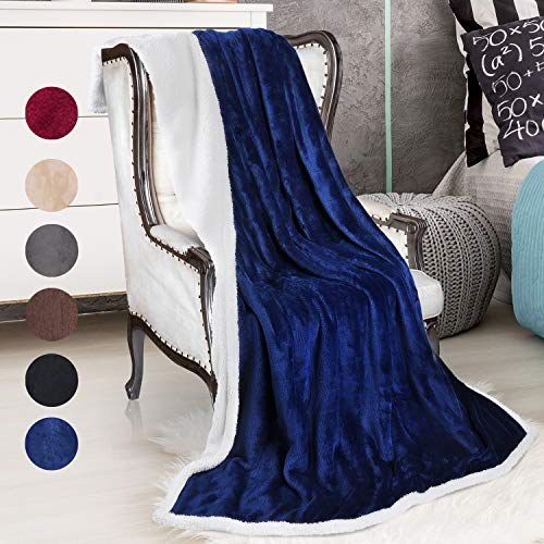 Sherpa Throws Blanket,Super Soft Comfy Micro Mink Fleece Plush Sofa Couch Blanket Reversible Bed Throw TV Blanket, Comfort Caring Gift Blue 50x60
