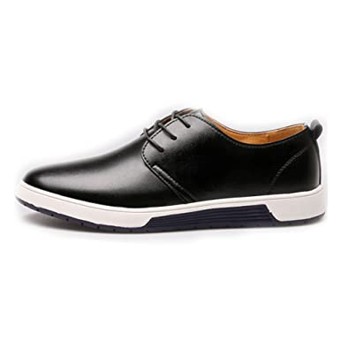 Shufang-shoes Men s PU Leather Shoes Classic Lace Up Breathable Lined  Oxfords(Perforated Upper c5a2323a60d