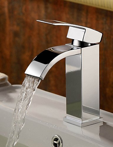 Hot and Cold Taps Bathroom Sink Faucets Contemporary Waterfall Brass ...