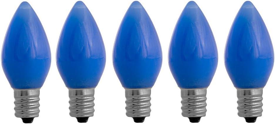 Amazon Com Ezls C7 Blue Opaque Led Bulbs 5 Pack Smooth Lens Blue Opaque C7 Replacement Bulbs Garden Outdoor