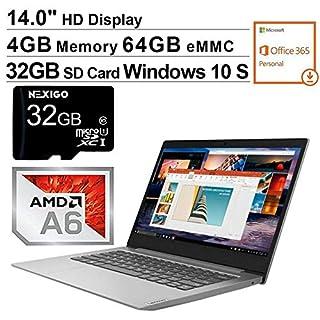 2020 Lenovo IdeaPad 14 Inch Non-Touch Laptop| AMD A6-9220e up to 2.4 GHz| 4GB RAM| 64GB eMMC| WiFi| Windows 10 S (1 Year Office 365 Personal Included) + NexiGo 32GB SD Card Bundle