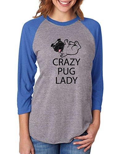 Tstars Crazy Pug Lady Gift for Dog Lover Funny 3/4 Women Sleeve Baseball Jersey Shirt XX-Large Blue/Gray