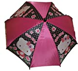 Hello Kitty Child Sized Umbrella with Figure Handle Pink and Black with Flowers