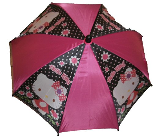 Cheap Hello Kitty Child Sized Umbrella with Figure Handle Pink and Black with Flowers