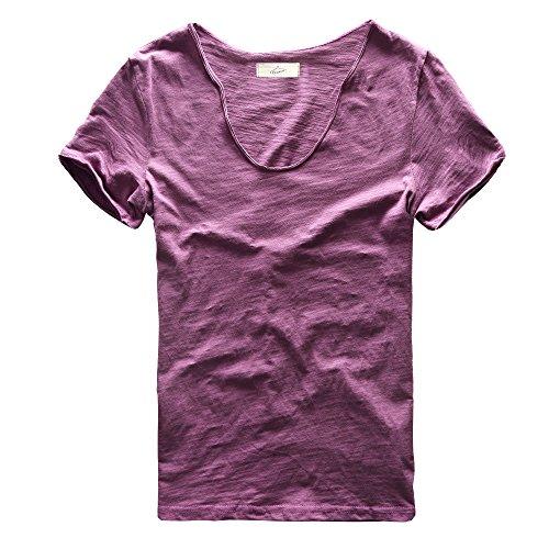Zecmos Mens V-Neck T-Shirt Short Sleeve Basic Tshirt Cotton Tee 2042Purple XL ()