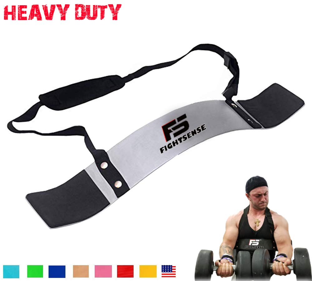 FIGHTSENSE Arm Blaster Biceps Curl Triceps Muscle Isolator Bomber Fitness Gym Workout Training Support (Silver)