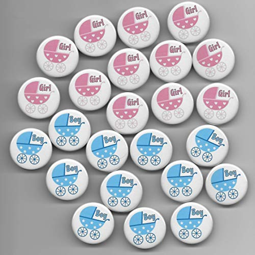 Baby Carriage Buggy Pram Pink & Blue Gender Reveal,Boy Girl,Baby Shower Party Favor, Pin Back Buttons, Round, Pinback, 1-1/4