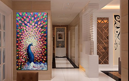 V-inspire Paintings, 24x48 Inch Modern Abstract Painting Red Peacock in Plume Oil Hand Painting 3D Hand-Painted On Canvas Abstract Artwork Art Wood Inside Framed Hanging Wall Decoration For Living Roo by V-inspire (Image #5)