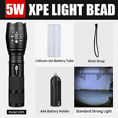 T6 : SHENYU Waterproof Mini Tactical LED Flashlight Super Bright Adjustable Focus Flashlight with High Power Zoom (Flash Image Zoom)
