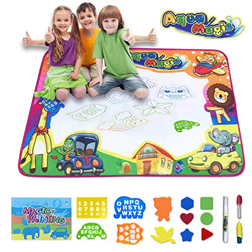 "Aqdola Aqua Magic Doodle Mat-Water Drawing Mat-Magic Educational Toys for 2 3 4 5+ Girls Boys Toddler with 3 Water Pens and Drawing Booklet, 34"" X 22.5"""