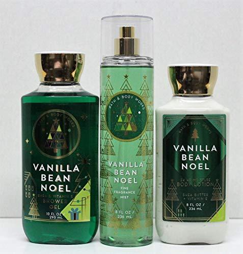 Bath and Body Works Vanilla Bean Noel Shower Gel, Body Lotion, Fine Fragrance Mist Daily Trio Gift Set 2018 (Bean Noel Vanilla)
