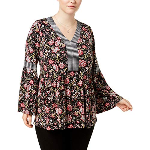 (Style & Co. Womens Plus Bell Sleeve Tunic Pullover Top Black)