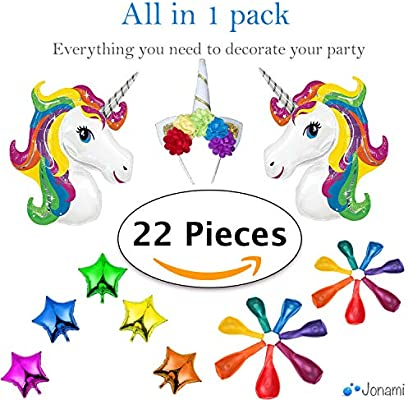 Jonami Decoracion Unicornio Cumpleaños Multicolores - 2 Unicornios Gigantes Arcoíris, 5 Estrellas Globos de Aluminio, 1 Diadema de Unicornio, 14 ...