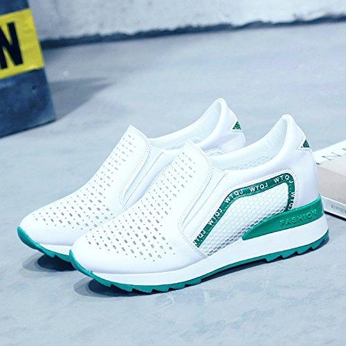 AJUNR tacco spesso scarpe sportive aumentato scarpe Fondo Moda Alla Sandali messo femmina piede selvaggia green pendenza scavata la pigro del traspirante unico Scarpe di Da Donna 7Tx7r0