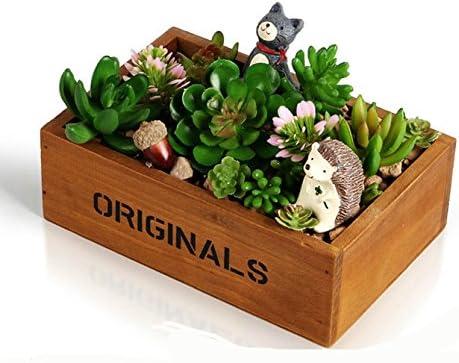 e-meoly de madera caja de ventana de jardín rústico rectangular macetero, de flores suculentas maceta contenedor caja, 2 unidades: Amazon.es: Hogar