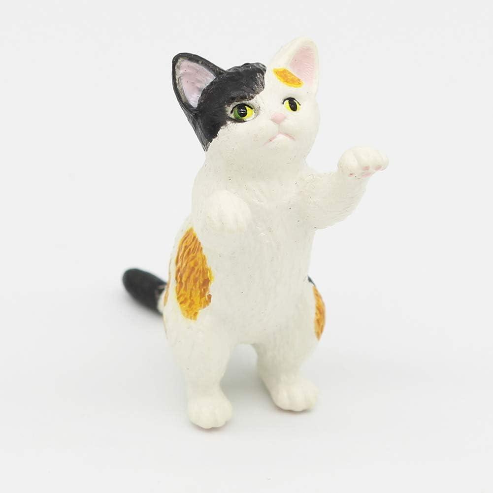 Yisily Jardin F/ée Miniature de Chat Figures Poup/ées Dollhouse color/é Chat Figures Animaux pour Le Bricolage D/écor D/écoration 1pc