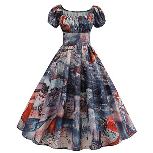 FEDULK Womens Vintage Retro 1950s Dress Short Sleeve Floral Print Aline Evening Party Gown Prom Swing Dress(Red, Large)]()