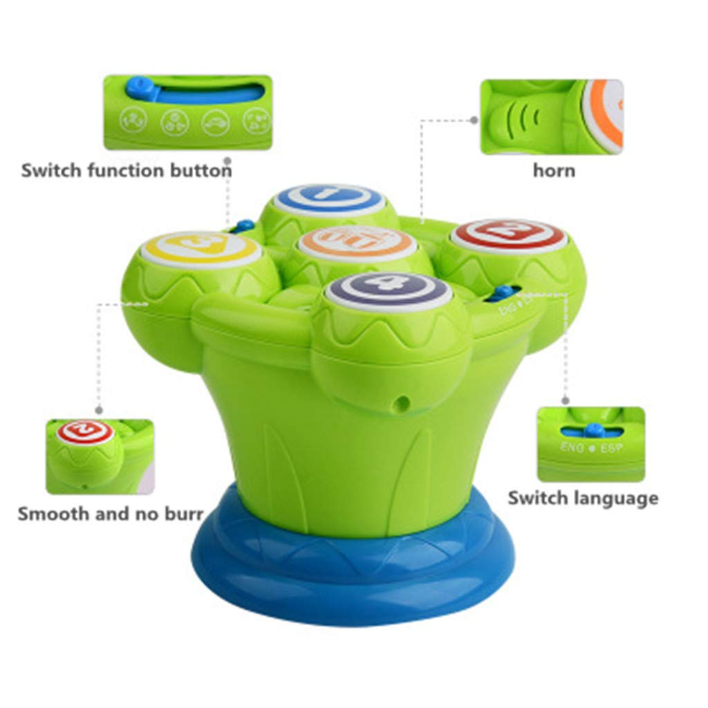 New Battery Operated Multicoloured Flash Drum Sound /& Lights Songs Kids Toy UK