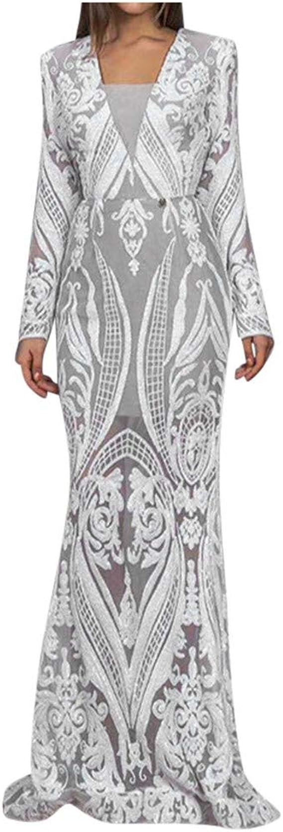JXQ-N Damen Chiffon Bestickt Lange Langarm Abendkleid V-Ausschnitt