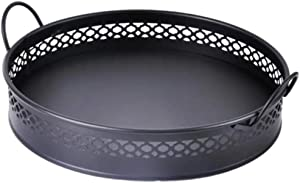 SWEET HOME Galvanized Metal Tray, Black Metal Round Serving Tray with Handles, Office Tray, Party Tray, Wedding Tray, Spa Serving Tray, Vintage Tray, Rustic Tray, Organizer for Kitchen and Bathroom