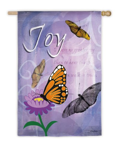 Joy Butterfly Summer Decorative House Flag by (Evergreen Butterfly House)