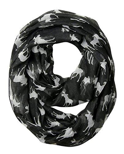 - GERINLY Animal Circle Scarves: Cute Moose Print Infinity Loop Scarf For Christmas (Black)