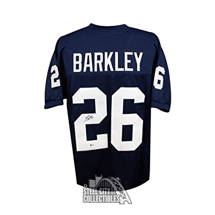 the latest 72c0e 180a8 Saquon Barkley Autographed Jersey - Custom Blue Football BAS ...
