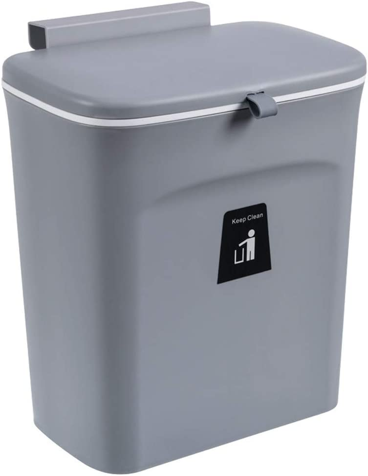 TANCHEN 2.4 Gal Hanging Trash Can for Kitchen Wall-Mounted Sliding Lid Trash Can Kitchen Door Hanging Garbage Storage Bucket Stovetop Waste Bin for Office Home Bathroom Kitchen