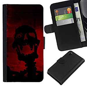 KingStore / Leather Etui en cuir / Sony Xperia Z3 D6603 / Riendo Evil Skull Skeleton
