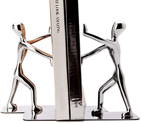 Fasmov Heavy Stainless Steel Nonskid Decorative Bookends,1 Pair, Man Deal (Large Image)