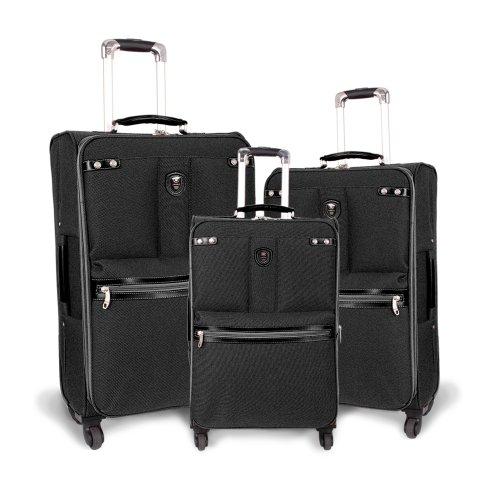 Centennial Three Light - J World New York Centennial Lightweight 3 Piece Spinner Luggage Set, Black, One Size