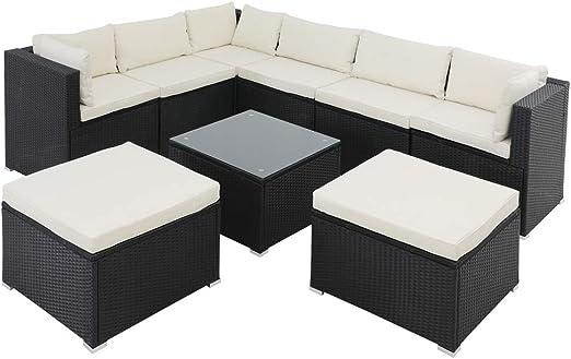 Casaria Conjunto de jardín Muebles Exterior Lounge de poliratán Juego de sofás y mesita Negro 280x210x70cm Set Interior: Amazon.es: Jardín