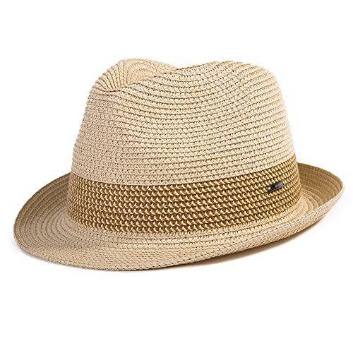 Fedora Straw Fashion Sun Hat Packable UPF Summer Panama Beach Hat Men Beige X-Large 61 62CM -