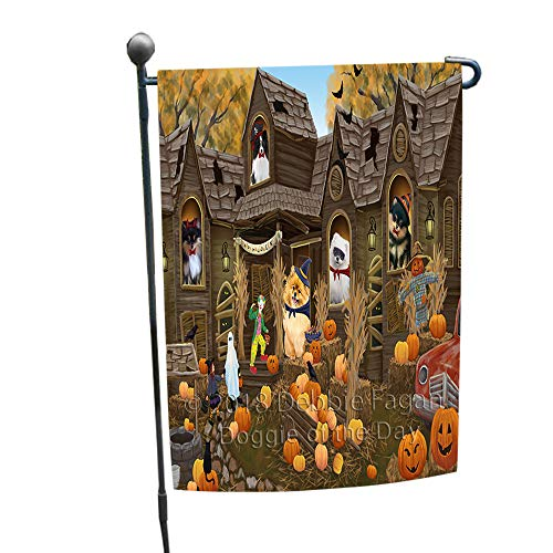 Doggie of the Day Haunted House Halloween Trick or Treat Pomeranians Dog Garden Flag ()