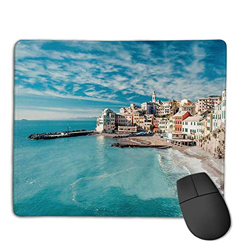 Mouse Pad Custom,Non-Slip Rubber Mousepad,Farm House Decor,Panorama of Old Italian Fish Village Beach Old Province Coastal Charm Image,Turquoise,for Laptop, Computer, PC, Keyboard,H9.8XW11.8inch