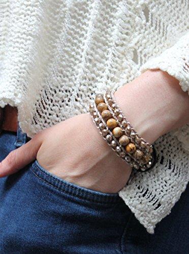Bracelet Mountain Cuff Set (Caramel mountain jade bead bracelet, Layering jewelry, Handcrafted cuff, Crystal bead, Decorative button, Macrame bracelet, Bohemian)