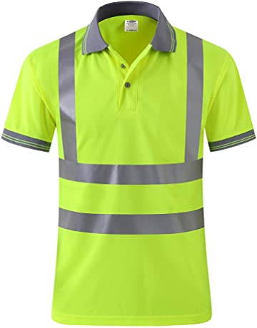 b3f8fe4f4 JKSafety Hi Vis Moisture Wicking Reflective Safety Polo Shirt Short Sleeve  ANSI Class 2 Unisex Construction