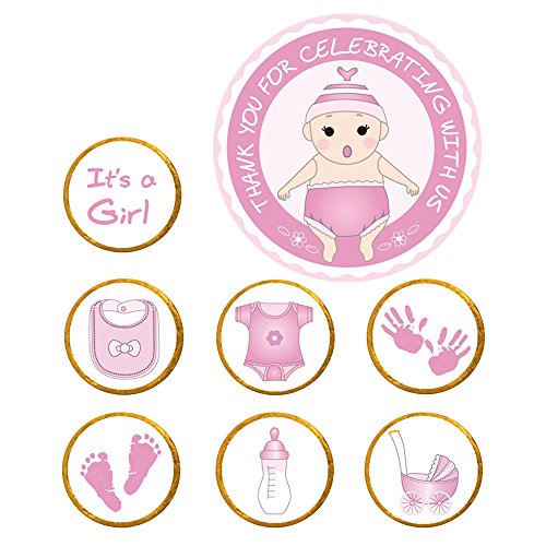 322-Pack Baby Shower Favor Stickers - Its Girl & Thank You for Celebrating with Us Labels Stickers (Pink)