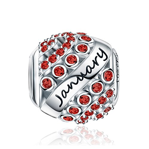 Forever Queen January Birthstone Charms for Pandora Charms Bracelet- 925 Sterling Silver Bead Openwork Charms, Happy Birthday Charms for Bracelet and Necklace FQ0004-1