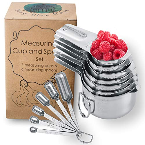 Stainless Steel Measuring Cups and Spoons Set by Tiny Blue Barn - Liquid and Dry Measuring Cups with Mini Spouts - Stainless Steel - Great for Gifts, Cooking and Baking - Set of 13