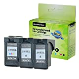 GREENCYCLE 2 Pack PG245XL Black and 1 Pack CL246XL Tri-Color High Yield Remanufactured Ink Cartridge Set with new chip Compible with Canon PG-245XL CL-246XL 245XL 246XL use in Canon For Canon PIXMA IP2820,PIXMA MG2420,PIXMA MG2520,PIXMA MG2920,PIXMA MG2922,PIXMA MG2924 ,PIXMA MX492, PIXMA MX490 ?Total 3 Pack,Show Ink Level?