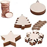 """Zoleland 50PCS 2""""-2.8"""" Unfinished Predrilled Natural Wood Slices for Christmas Ornaments Hanging Decorations,Arts and DIY Crafts"""