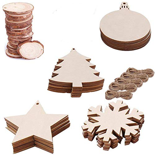 Zoleland 50PCS 2-2.8 Unfinished Predrilled Natural Wood Slices for Christmas Ornaments Hanging Decorations,Arts and DIY Crafts