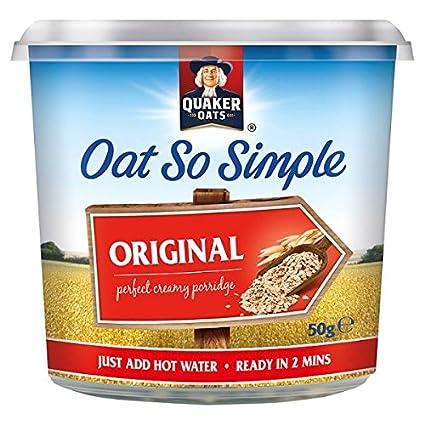Avena Quaker Oats Pot tan simple 50g original (paquete de 8 x 50 g)