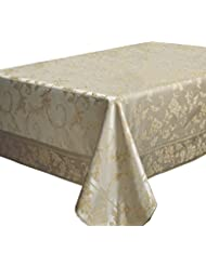 "Harmony Scroll Tablecloth (Silver - Gold, 60"" X 120"" Rectangular)"