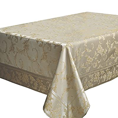 "Benson Mills Harmony Scroll Tablecloth (60"" X 120"" Rectangular, Silver - Gold) - Fabric Content: 58% Cotton, 42% Polyester Features a hand assembled Mitered Border. Available with Matching Napkins Cotton Rich, Heavy Weight Fabric(Very easy to clean; Machine wash in warm water with like colors; Use non-chlorine bleach when needed; Tumble dry low.) - tablecloths, kitchen-dining-room-table-linens, kitchen-dining-room - 51p 4TP07mL. SS400  -"