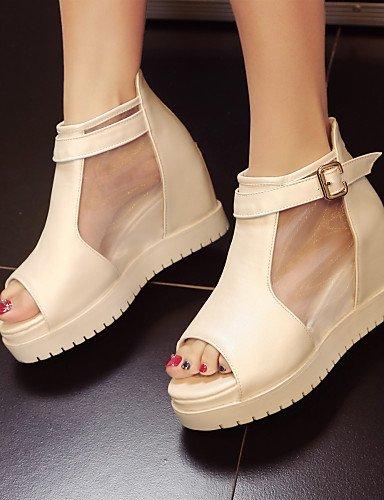 LFNLYX Zapatos de mujer-Plataforma-Punta Abierta / Creepers-Sandalias-Exterior / Vestido-Semicuero-Negro / Blanco White