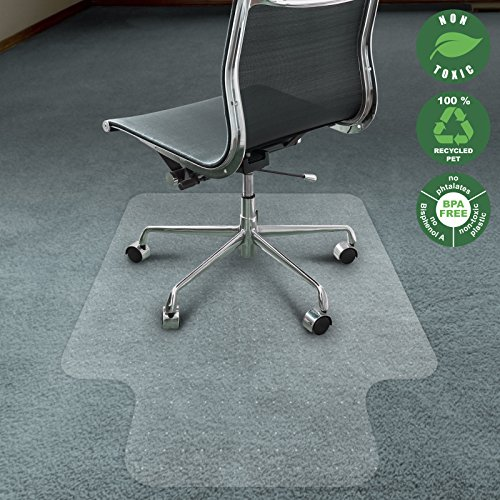 Office Marshal Chair Mat for Carpet with Lip | Eco-Friendly Series Chair Floor Protector | 100% Recycled (PET) Floor Mat for Office or Home Use | 2 Sizes Available | Translucent - 36'' x 48''